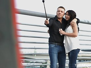 Russian brunette Irish colleen with small tits Roxy Sky gets released from jeans and rides gumshoe