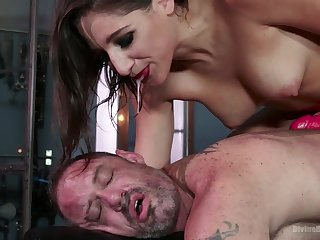 Dude becomes the slave Abella wants and go off at a tangent woman loves pegging him hard