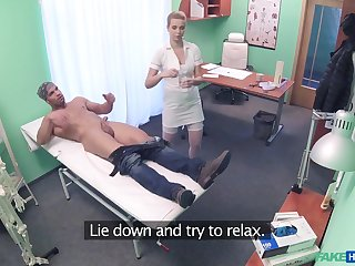 Amateur guy gets his balls emptied by a horny mart nurse