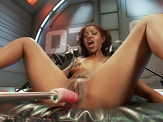 Lovely ebony Lotus Lain masturbates badly using the brush sex machine