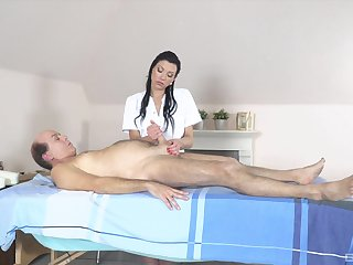 Flexible babe gives massage to older man fitfully fucks him