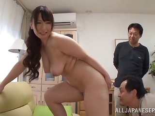 Naughty Japanese housewife gets manifestation fucked by two horny studs