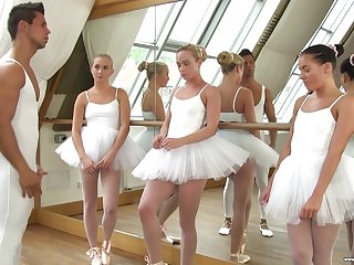 Cute ballerinas lose one's heart to their teacher in be transferred to hottest reverse gangbang session