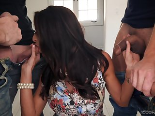 Crestfallen housewife Silvia Saige gives a blowjob to stepson added to his fellows
