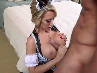 Mature blonde Capri Cavani in stockings fucked slobber deep on the bed