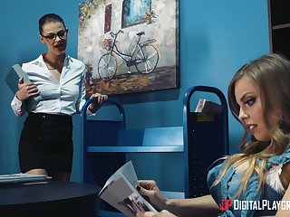 Lesbians Britney Amber and Evelin Stone playing on the stun
