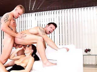 Bisexual friends in threesome on touching Tina Kay
