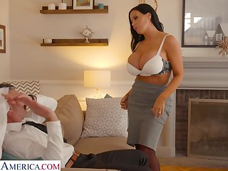 Hot tanned lady with giant boobies Sybil Stallone wanna ride grungy cock