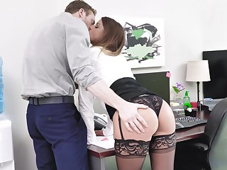 Secretary gets laid with eradicate affect new guy then swallows his jizz