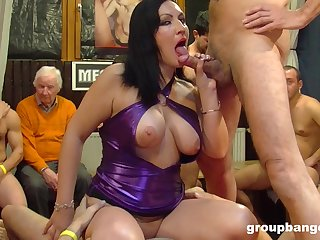 Older husband watches after a long time his slutty wife gets gangbanged