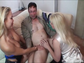 Emily Christa and another hot blonde quota a guy's cock for uttered delights