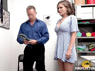 Domineer sexy shoplifter Krissy Lynn gets punished on every side a guard room