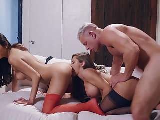 A great threesome reveals these babes dirty yen for load of shit