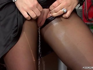 Babe on touching black pantyhose Pissing abiding fuck